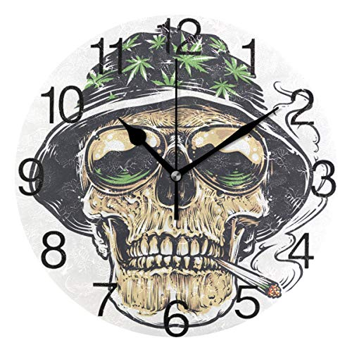 senya Skull with Marijuana Leaf Hat Design Round Wall Clock, Silent Non Ticking Oil Painting Decorative for Home Office School Clock Art (Marijuana Clock)