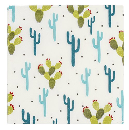 Blue Panda Cactus Napkins for Party or Baby Shower 150 Pack