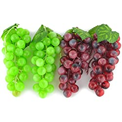 SAMYO 4 Bunches of Artificial Green & Purple Grape Cluster Simulation Fake Fruit Home House Kitchen Party Decoration Lifelike - 2 Colors