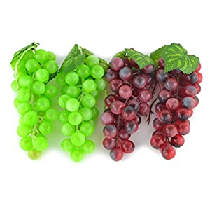 JEDFORE 4 Bunches of Artificial Green & Purple Grape Cluster Simulation Fake Fruit Home House Kitchen Party Decoration Lifelike - 2 Colors 94