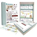 Baby Memory Book w/Keepsake Box & 30 Monthly & Baby First Milestone Stickers - Gender Neutral Scrapbook Album for Boys & Girls