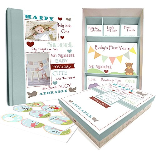 Baby Memory Book w/Keepsake Box & 30 Monthly & Baby First Milestone Stickers - Gender Neutral Design
