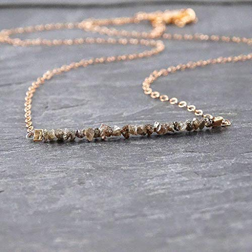 (Raw Chocolate Diamond Rose Gold Filled Necklace Jewelry Gift for Women)
