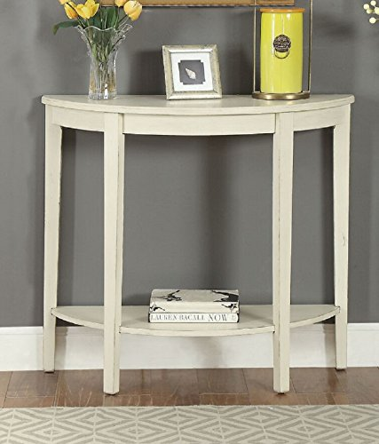 - Major-Q 9090160 Antique White Half Moon Shape Wooden Console Table with Bottom Shelf