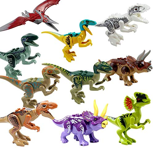 10 Pcs Dinosaur Building Blocks Action Figures Toy Set - Chimpy - Dino Stackable Figures Lot, for Boys and Girls, Perfect as Party Supplies, or as Cake Toppers
