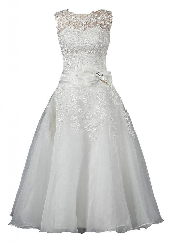 ANTS Women's A Line Sleeveless Tea Length Wedding Dresses Bride K063-MFN