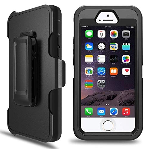 iPhone 5S Case, iPhone 5/5S/SE Defender Case with Belt Clip, Kickstand, Holster, Heavy Duty, Dropproof Shockproof Dustproof, Built-in Screen Protector Rugged Rubber Case Compatible with iPhone 5/5S/SE (Best Iphone 5 Case With Clip)