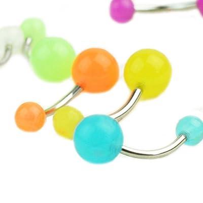 7PCS//Set Glow In The Dark Belly Button Navel Bar Rings Body Piercing Jewelry/_Qo