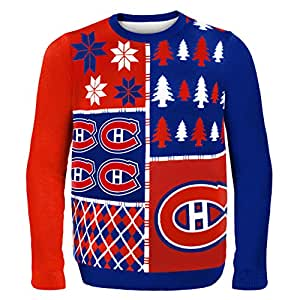Forever Collectibles Montreal Canadiens Busy Block Ugly Sweater, Red, Double Extra Large