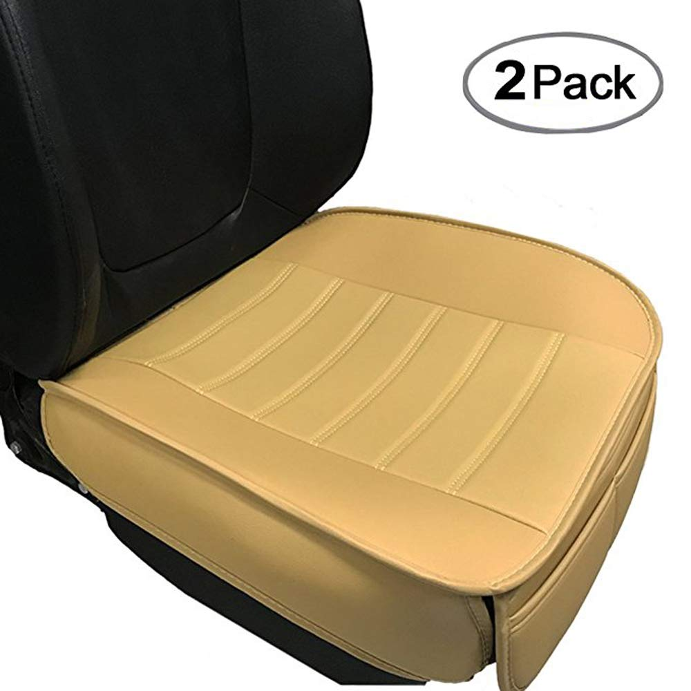 Car Seat Cushion, Edge Wrapping 2PC Car Interior PU Leather Car Seat Cushions Protector Front Car Seat Covers, Single Seat Cushion Cover Pad Mat for Auto Four-door sedan & SUV Driver Seat(Beige) by Big Ant