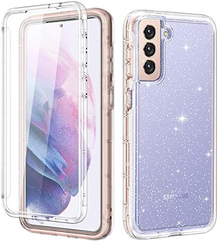 LONTECT for Galaxy S21 5G Case Glitter Clear Sparkly Bling Rugged Shockproof Hybrid Full Body Protective Case Cover [Without Screen Protector] for Samsung Galaxy S21 5G 6.2 2021, Clear Glitter