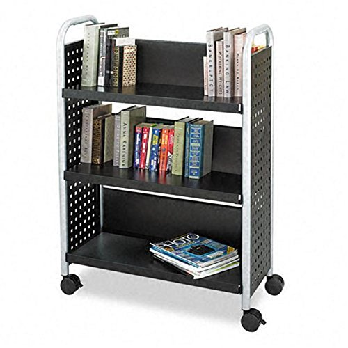 Safco 5336BL Scoot Single Sided 3-Shelf Book Cart in Black /RM#G4H4E54 E4R46T32520581 -