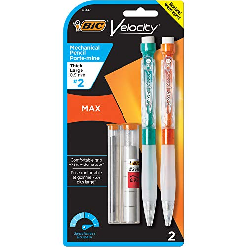 (BIC Velocity Max Mechanical Pencil, Thick Point (0.9mm), 2-Count)