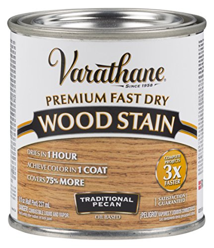 Varathane 262032 Premium Fast Dry Wood Stain, 1/2 Pint, Traditional Pecan