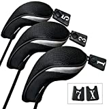 Andux Golf 460cc Driver Wood Head Covers with Long Neck and Interchangeable No. Tags Pack of 3
