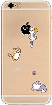 Freessom Coque iPhone 5/5s Silicone Transparent Motif Chat Animaux Drole Apple Dessin Noir Kawaii Original Antichoc Souple Ultra Mince Fine Cadeau Pas ...