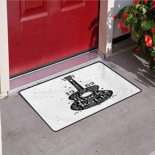 Jinguizi Guitar Welcome Door mat Hand Drawn Style Instrument with Grunge Look and Retro Design Rock and Roll Theme Door mat is odorless and Durable W29.5 x L39.4 Inch Black White