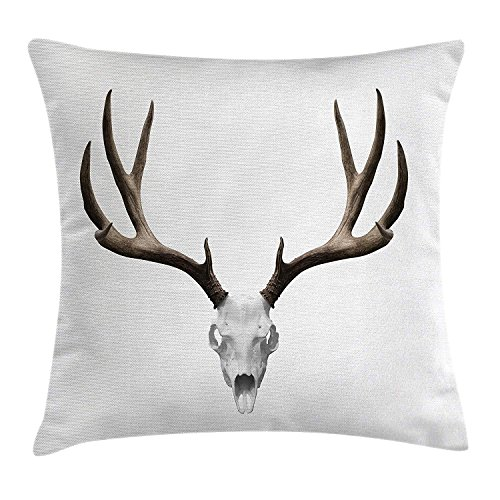 best bags Antlers Throw Pillow Cushion Cover, A Deer Skull Skeleton Head Bone Halloween Weathered Hunter Collection Art, Decorative Square Accent Pillow Case, 18 X 18 Inches, Brown White ()