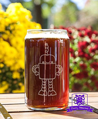 Cute Robot Etched Glassware Beer Can Glass Gift