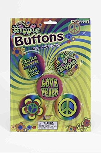 Hippie Button Set (Forum Novelties Hippie 60's Button Set)