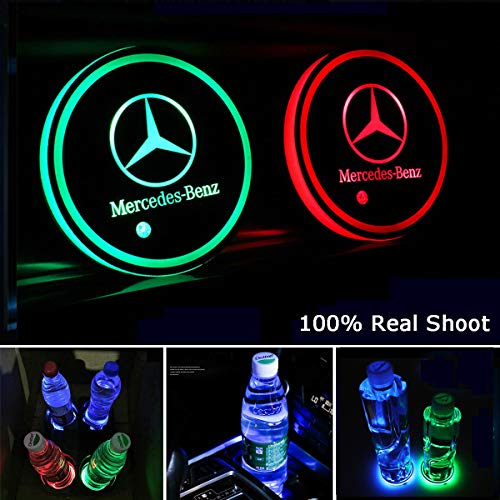 fit Mi-ni Interestingcar LED Car Cup Holder Lights,LED Car Logo Cup Holder Pad Waterproof Bottle Drinks Coaster Built-in Light 7 Colors Changing USB Charging Mat LED Cup Mat Car Atmosphere Lamp 2PCS