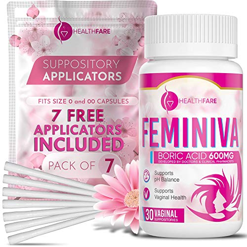 HealthFare Boric Acid Vaginal Suppositories with 7 Applicators - 30 Count, 600mg - Feminiva Intimate Health Support - 100% Pure Made in USA