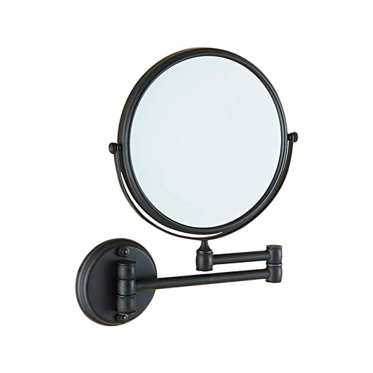 Wall Mounted Makeup Mirror 8-Inch Bathroom Beauty Vanity Mirror – Folding Extendable Arm – 360 Rotatable, Double-Side with One Side 3 Magnification Mirror, Matte Black