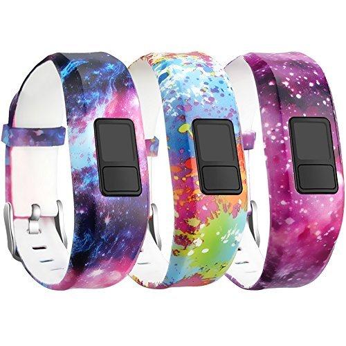 SKYLET for Garmin Vivofit 3 / Vivofit JR/JR.2 Bands, Soft Silicone Replacement Bands for Garmin Vivofit 3 / JR/JR.2 Accessories Bracelet with Secure Watch Buckle Kids Women Men (No Tracker)