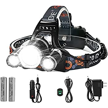 Attirant LED Headlamp, {5000 Lumens Max} 4 Modes Waterproof Head Flashlight Light  With 2