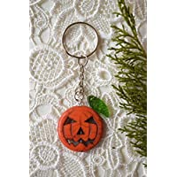 Orange pumpkin Keychain Halloween Keyring