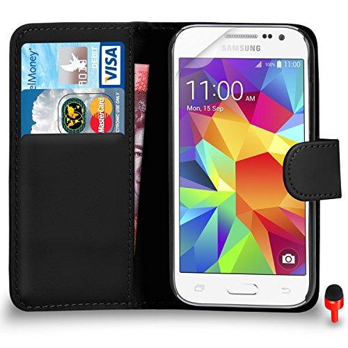 Samsung Galaxy Core Prime Premium Leather Black Wallet Flip Case Cover...
