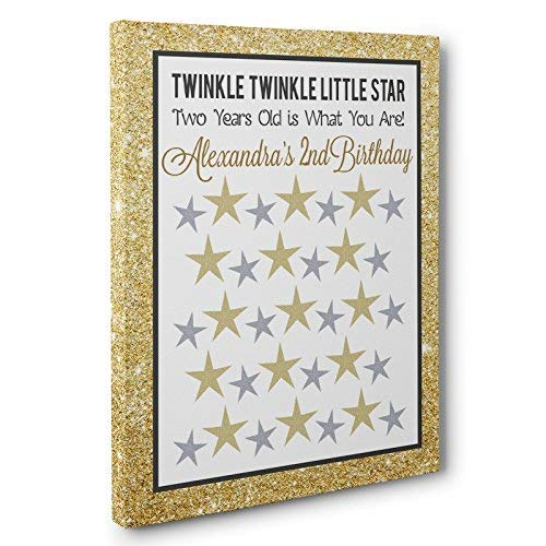 Gold Twinkle Twinkle Little Star Birthday Guestbook CANVAS Wall Art