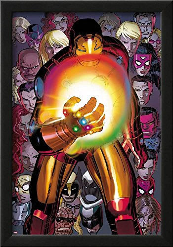Avengers No.12: Iron Man with The Infinity Gauntlet by John Romita Jr, Black Framed Wall Art, 14x20 in.