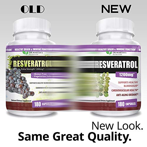 51CZO2t30zL - Extra Strength 100% Pure Resveratrol 1200mg - 180 Capsules - 3 Months Supply | Antioxidant Supplement | Natural Trans-Resveratrol Pills | for Anti-Aging, Heart Health, Immune System & Brain Function