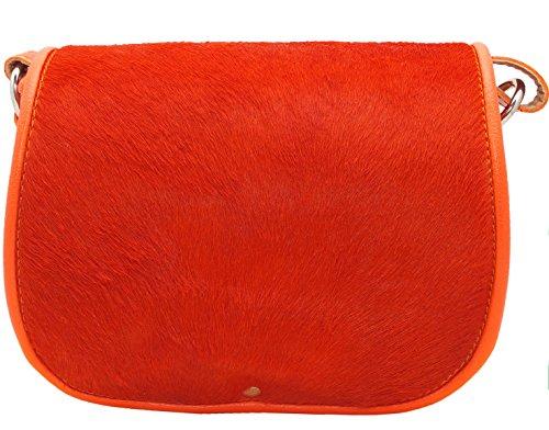 Arancione del sacchetto di spalla del messaggero del cuoio borsa a mano
