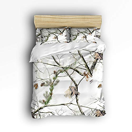 Cloud Dream Home 4 Piece Bedding Set,White Realtree Camo Duvet Cover Set Quilt Bedspread for Childrens/Kids/Teens/Adults King Size(Extra Large)