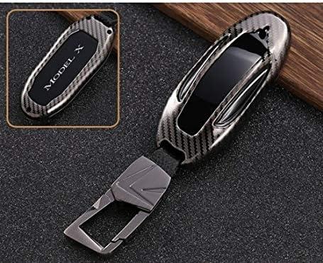 FGJIHB SchlüsseletuiKohlefaser Stil Legierung autoschlüssel Fall Abdeckung lagerung schlüsseloberteil Schutz Auto zubehör für Tesla Modell s Modell x, für Modell x