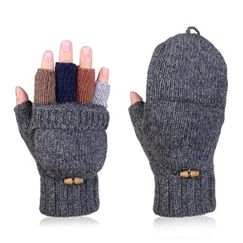 Vbiger+Winter+Warm+Wool+Mittens+Gloves+%28Dark+Grey2%29