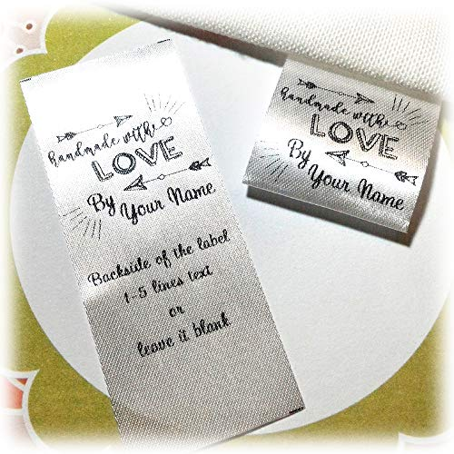 100 pcs Arrow Handmade with Love Design Business Custom Text Logo Personalized Sewing Hanging Satin Ribbon Clothing Labels Folding Name tag Washable wash Care Handmade Label