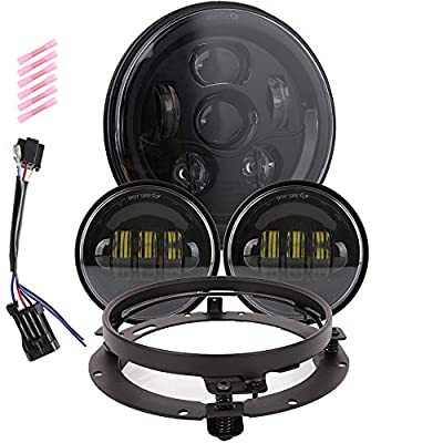 7 inch LED Headlight Fog Passing Lights DOT Kit Set Ring Motorcycle Headlamp for Harley Davidson Touring Road King Ultra Classic Electra Street Glide Tri Cvo Heritage Softail Slim Deluxe Fatboy Black