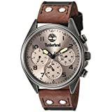Timberland Men's 'WOLCOTT' Quartz Stainless Steel and Leather Dress Watch, Color:Black (Model: TBL14859JSQS61)