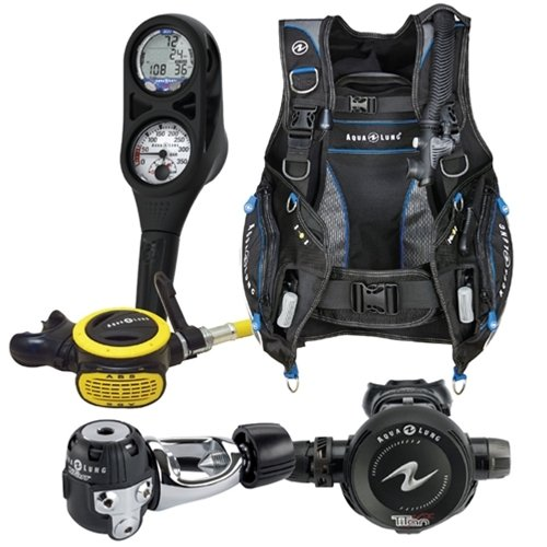 Aqua Lung Essential Package Pro HD BCD Size LG Titan Regulator ABS Octo i300 Computer SPG Console Aqualung Scuba Diving Combo Set Large (Regulator Stainless Vest)