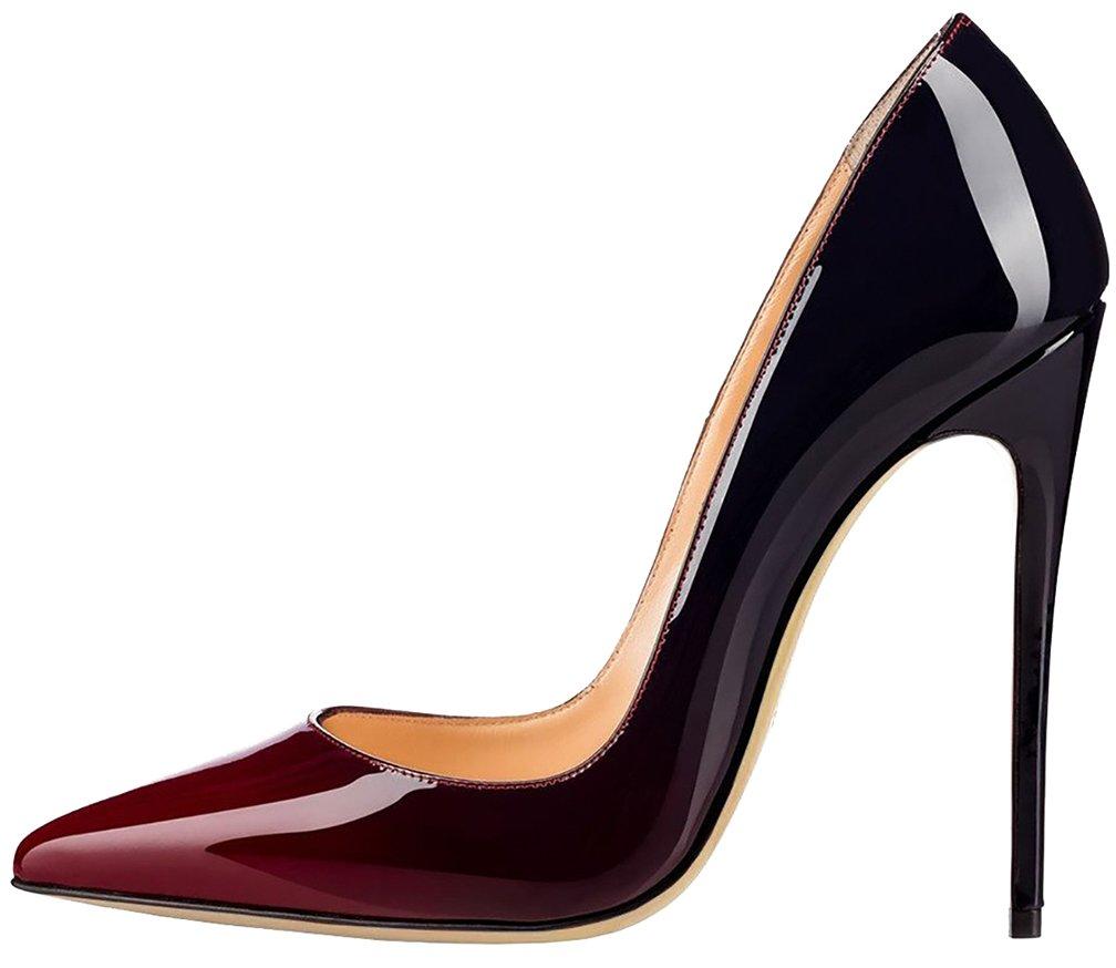 Calaier Mujer Cause Tacón de Aguja 12CM Sintético Ponerse Zapatos de Tacón 39.5|Varios colores