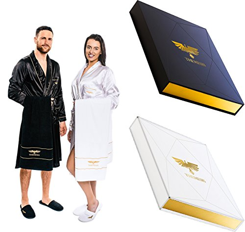 Luxury Spa Gift Set - Bathrobe Towel Slippers - Best useful gift idea for him & her by Themesis