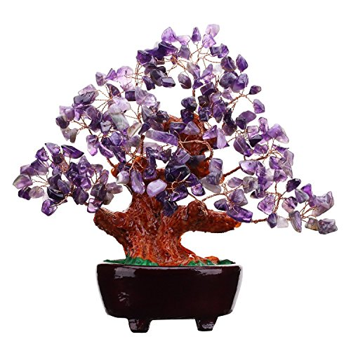 VOVOV 7 Inch Purple Crystal Money Tree Feng Shui Natural Amethyst Quartz Gem Stone Money (Quartz Gemstone Tree)