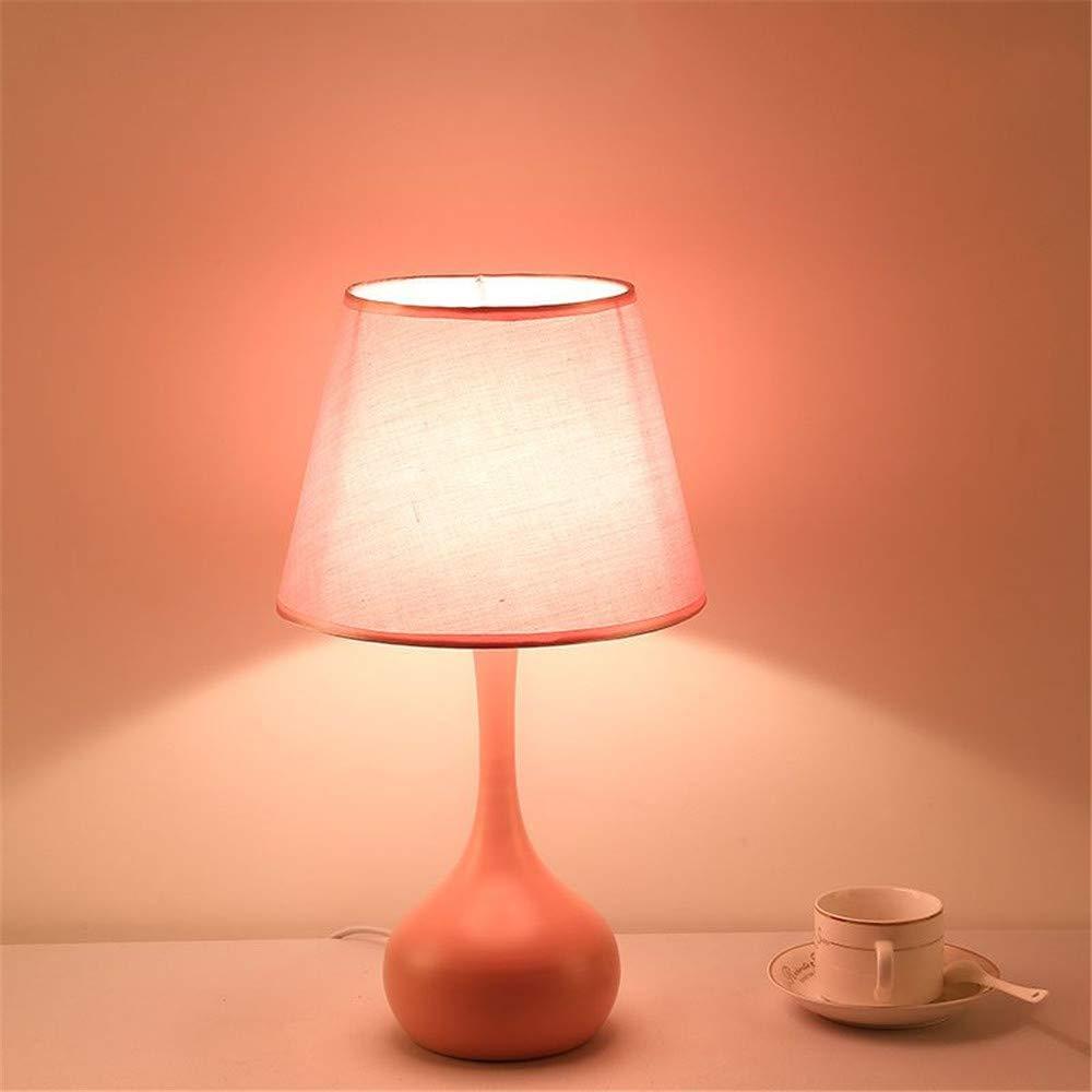 Eeayyygch Nachttisch und Tischlampen Tischlampe Schlafzimmer Bett einfach und warm Kreative Wohnzimmerlampe Nachttischlampe, Rosa Lampenschirm, Taste warm (Farbe   Rosa Shade, Größe   Button)