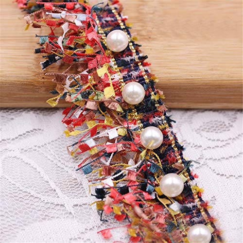 1 Yard Tassel Fringe Lace Edge Multicolor Trim Ribbon with Pearl Beads 3.8cm Width Vintage Colored Edging Trimmings Fabric Embroidered Applique Sewing Craft Wedding Dress Party Clothes Decor ()