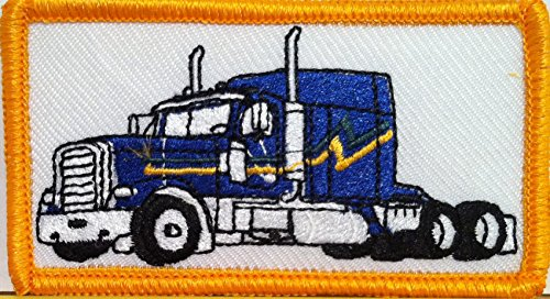 (Blue Color Truck Iron on Patch Truck Driver Emblem Gold Border )