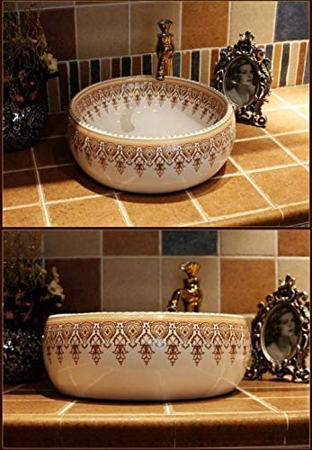 ZKS-KS ヨーロッパのヴィンテージスタイルの陶芸流域のシンクのカウンタートップ洗面バスルームシンク、セラミック洗面用バスルームのシンクの洗面化粧台