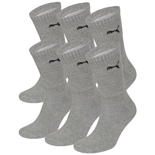PUMA Unisex Crew Socks Socken Sportsocken MIT FROTTEESOHLE 6er Pack grey 400 - 43/46